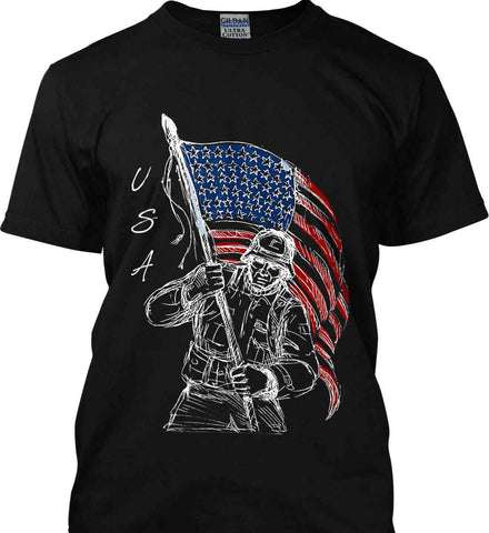 Soldier Flag Design. White Print. Gildan Tall Ultra Cotton T-Shirt.