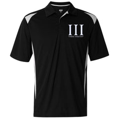 Three Percent Symbol with Text. White. Augusta Premier Sport Shirt. (Embroidered)