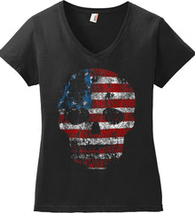 American Skull. Red, White and Blue. Women's: Anvil Ladies' V-Neck T-Shirt.