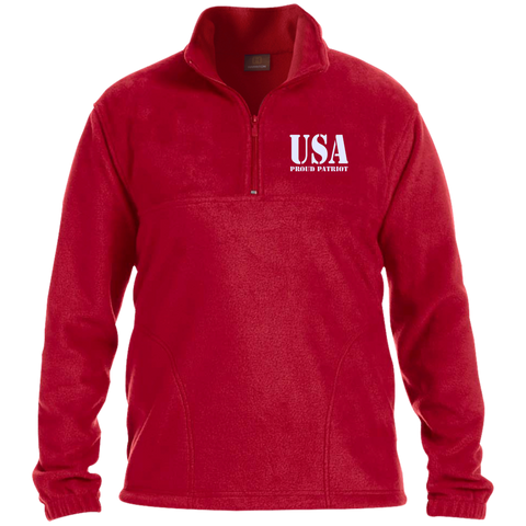 USA. Proud Patriot. Harriton 1/4 Zip Fleece Pullover. (Embroidered)