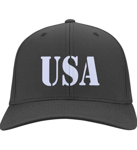 USA Patriot Hat Port & Co. Twill Baseball Cap. (Embroidered)