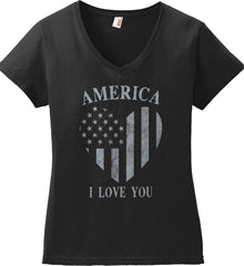 America I Love You Women's: Anvil Ladies' V-Neck T-Shirt.