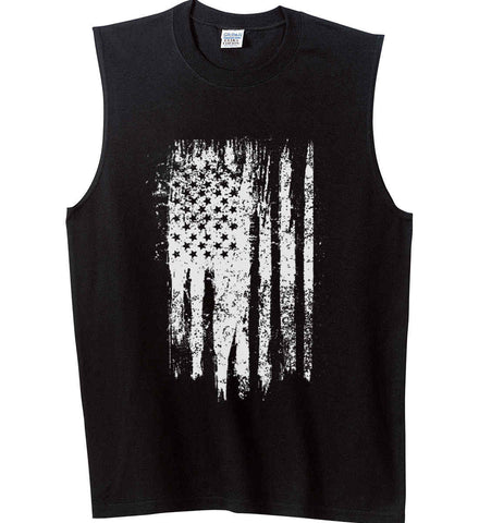 Grungy Grey USA Flag Gildan Men's Ultra Cotton Sleeveless T-Shirt.