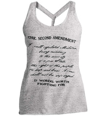 The Second Amendment. 27 Words Worth Fighting For. Second Amendment. Black Print. Women's: District Made Ladies Cosmic Twist Back Tank.