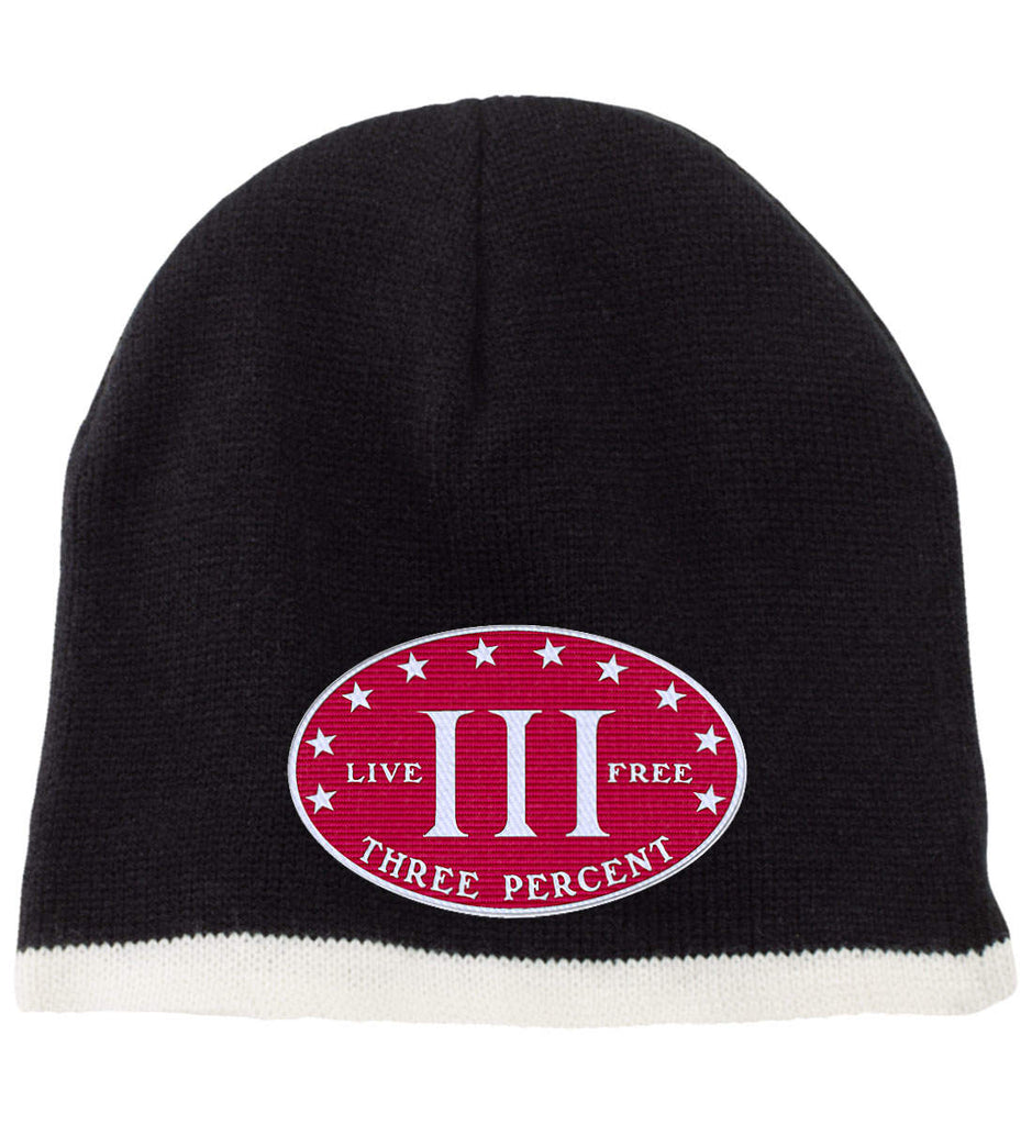 Three Percenter. Live Free. Hat. 100% Acrylic Beanie. (Embroidered)-7
