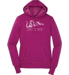 Join or Die. White Print. Women's: Sport-Tek Ladies Pullover Hooded Sweatshirt.