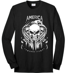 America. Punisher Skull and Bones. Since 1776. White Print. Port & Co. Long Sleeve Shirt. Made in the USA..