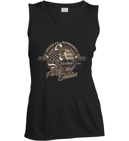 American Bombshell. Women's: Sport-Tek Ladies' Sleeveless Moisture Absorbing V-Neck.