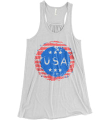 Grungy USA. Women's: Bella + Canvas Flowy Racerback Tank.