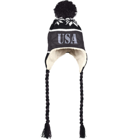 USA Patriot Hat Holloway Hat with Ear Flaps and Braids. (Embroidered)