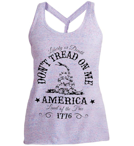 Don't Tread on Me. Liberty or Death. Land of the Free. Black Print. Women's: District Made Ladies Cosmic Twist Back Tank.