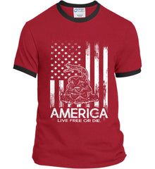 America. Live Free or Die. Don't Tread on Me. White Print. Port and Company Ringer Tee.