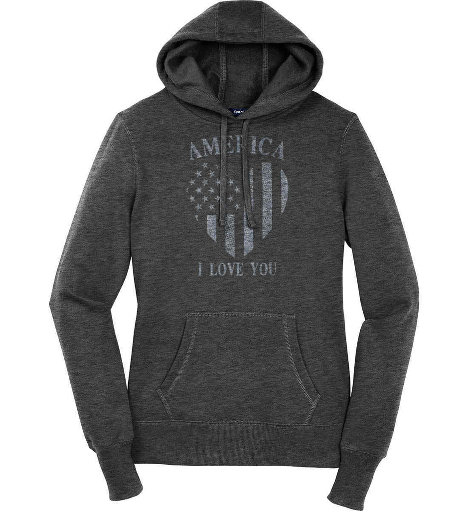America I Love You Women's: Sport-Tek Ladies Pullover Hooded Sweatshirt.-2