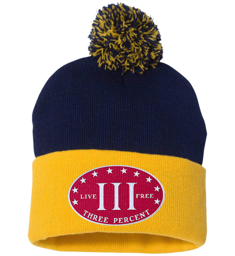 Three Percenter. Live Free. Hat. Sportsman Pom Pom Knit Cap. (Embroidered)-11