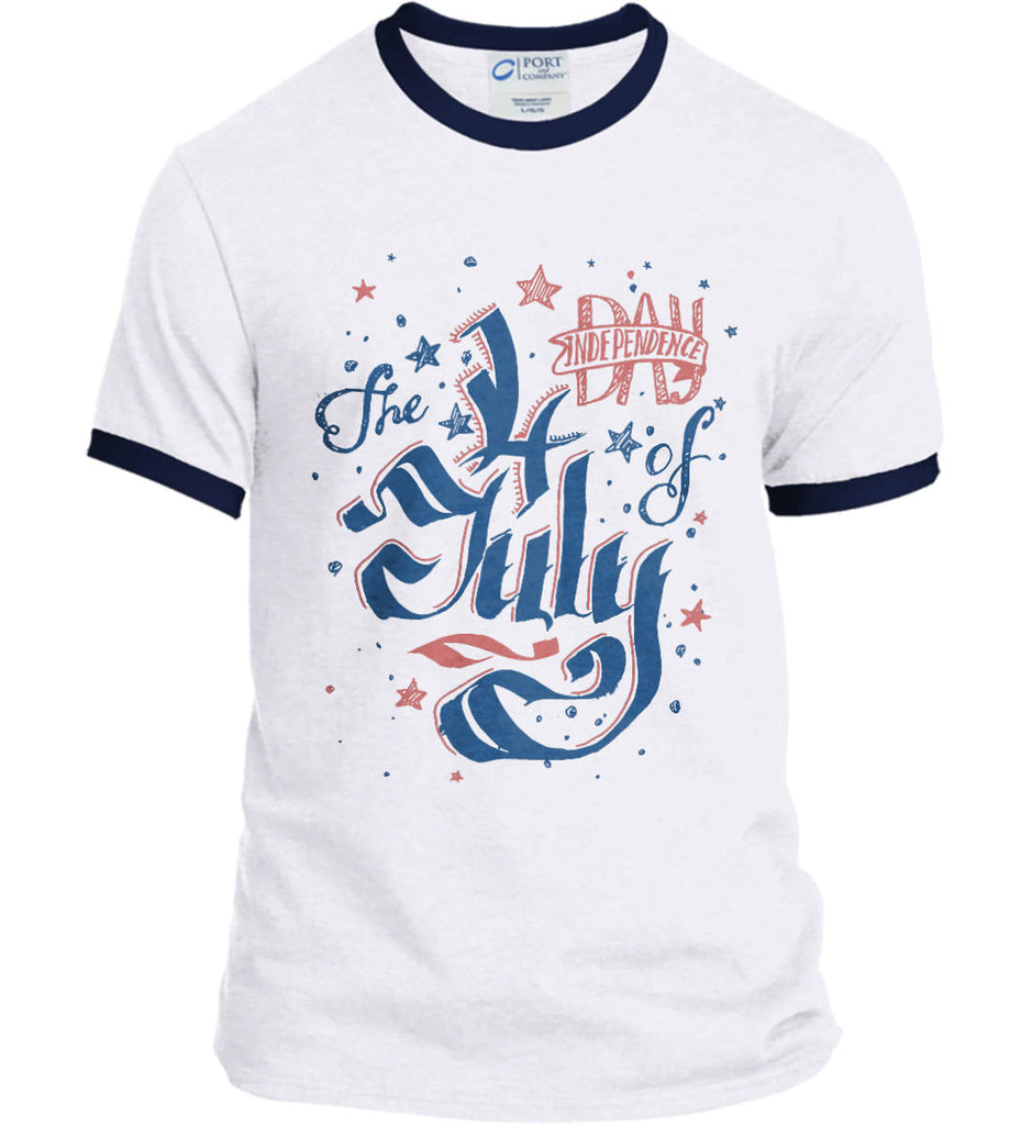The 4th of July. Ribbon Script. Port and Company Ringer Tee.-3