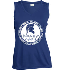 Molon Labe. Spartan Helmet. White Print. Women's: Sport-Tek Ladies' Sleeveless Moisture Absorbing V-Neck.