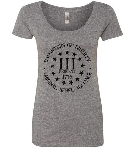 Daughters of Liberty. Black Print. Women's: Next Level Ladies' Triblend Scoop.