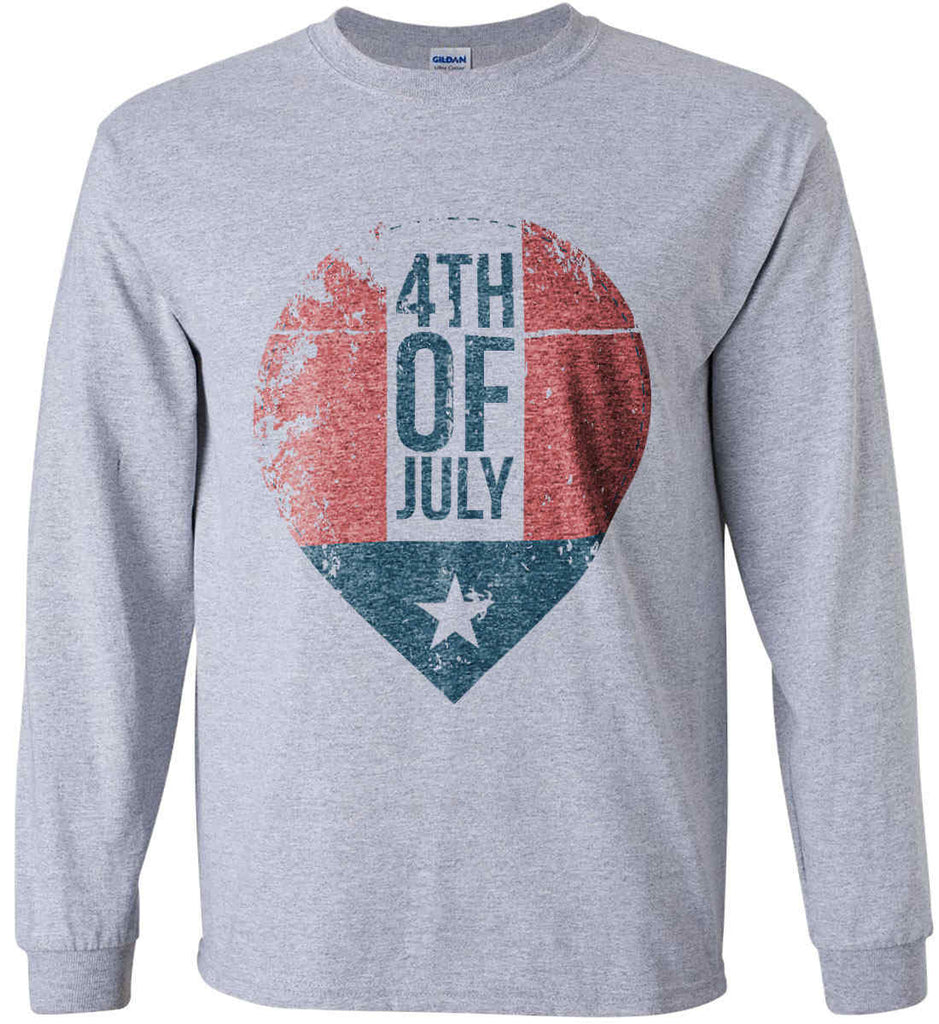 4th of July with Star. Gildan Ultra Cotton Long Sleeve Shirt.-2