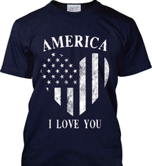 America I Love You White Print. Port & Co. Made in the USA T-Shirt.