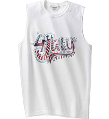 July 4th Red, White and Blue. Gildan Men's Ultra Cotton Sleeveless T-Shirt.