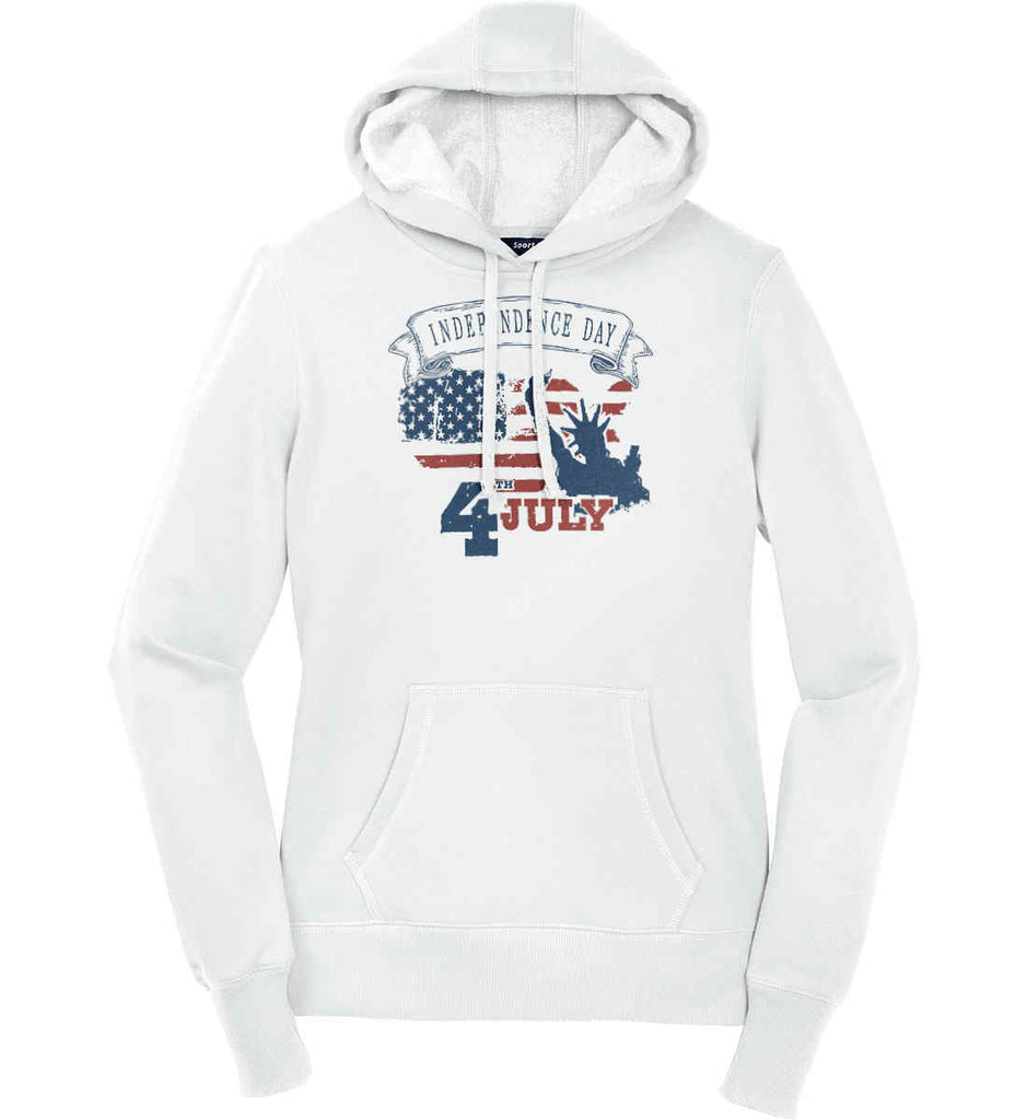 4th of July. Faded Grunge. Statue of Liberty. Women's: Sport-Tek Ladies Pullover Hooded Sweatshirt.-1