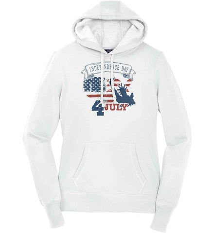 4th of July. Faded Grunge. Statue of Liberty. Women's: Sport-Tek Ladies Pullover Hooded Sweatshirt.