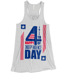 4th of July with Stars and Stripes. Women's: Bella + Canvas Flowy Racerback Tank.
