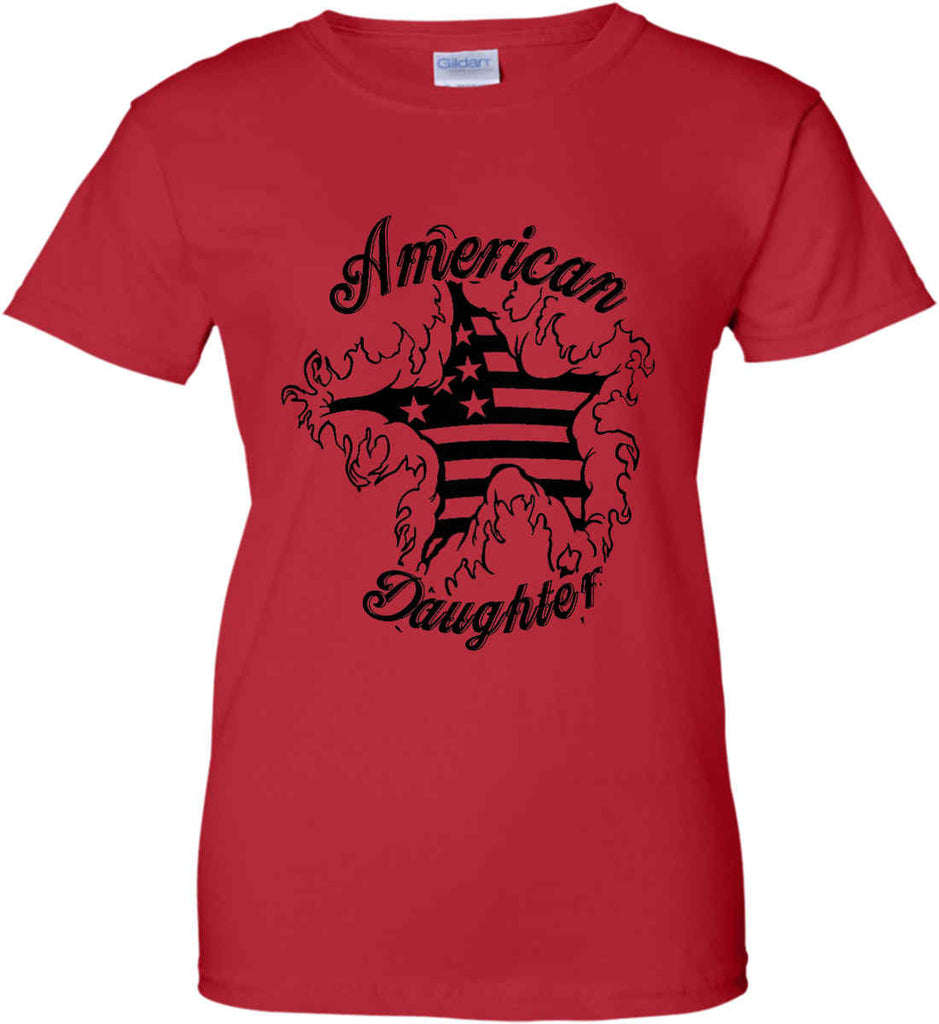 American Daughter. Women's Patriot Design. Women's: Gildan Ladies' 100% Cotton T-Shirt.-9