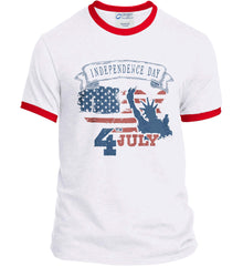4th of July. Faded Grunge. Statue of Liberty. Port and Company Ringer Tee.