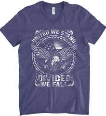 United We Stand. Divided We Fall. White Print. Anvil Men's Printed V-Neck T-Shirt.