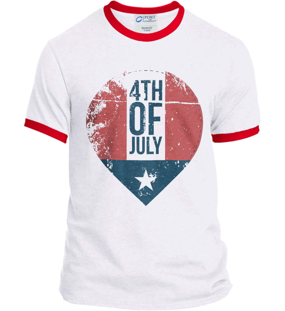 4th of July with Star. Port and Company Ringer Tee.-2