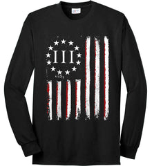 Three Percent on American Flag. Port & Co. Long Sleeve Shirt. Made in the USA..