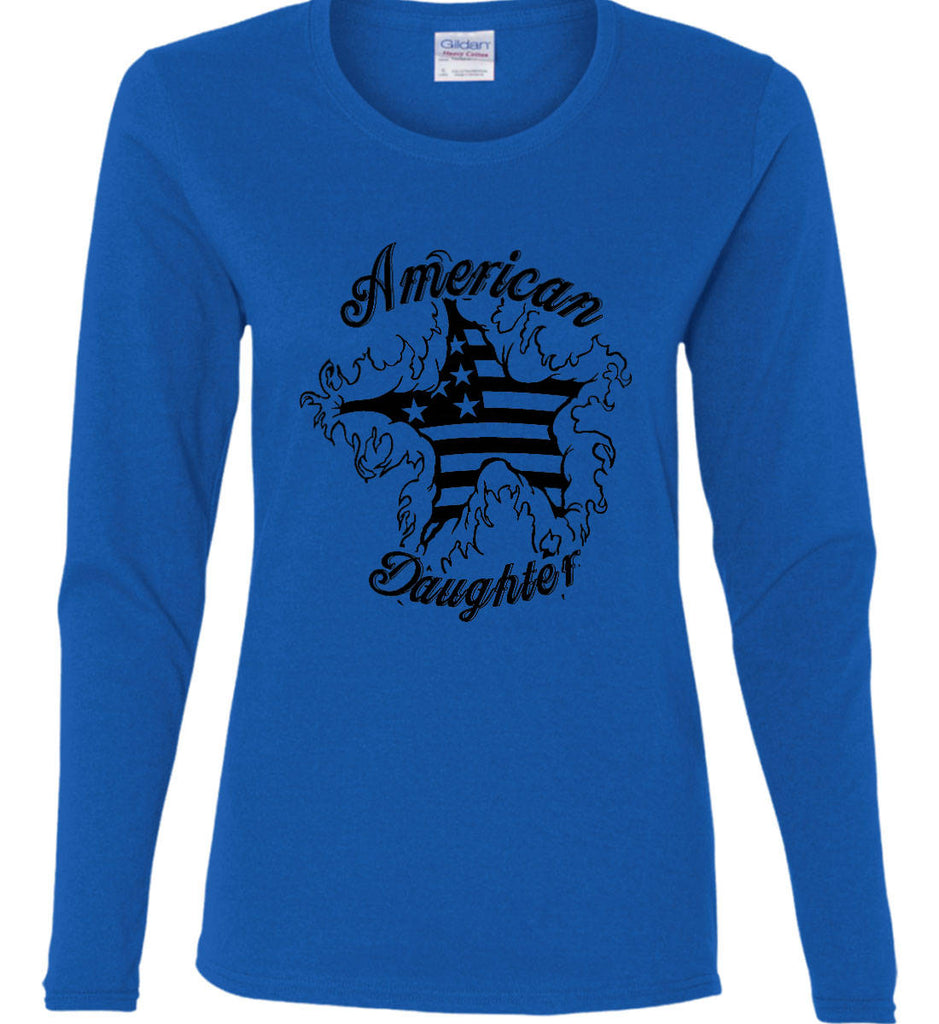 American Daughter. Women's Patriot Design. Women's: Gildan Ladies Cotton Long Sleeve Shirt.-9