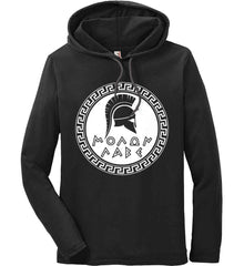 Molon Labe. Spartan Helmet. White Print. Anvil Long Sleeve T-Shirt Hoodie.