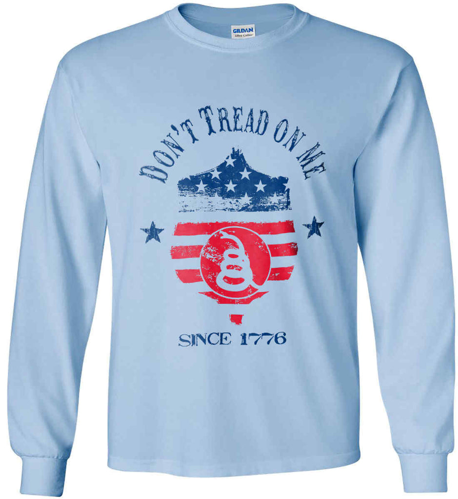 Don't Tread on Me. Snake on Shield. Red, White and Blue. Gildan Ultra Cotton Long Sleeve Shirt.-5