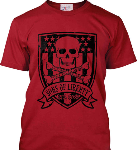 Skull and Bones on Flag. Don't Tread on Me. Sic Semper Tyrannis. Black Print. Port & Co. Made in the USA T-Shirt.