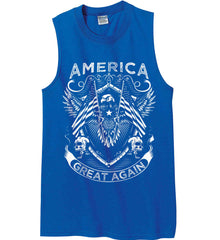 America. Great Again. White Print. Gildan Men's Ultra Cotton Sleeveless T-Shirt.
