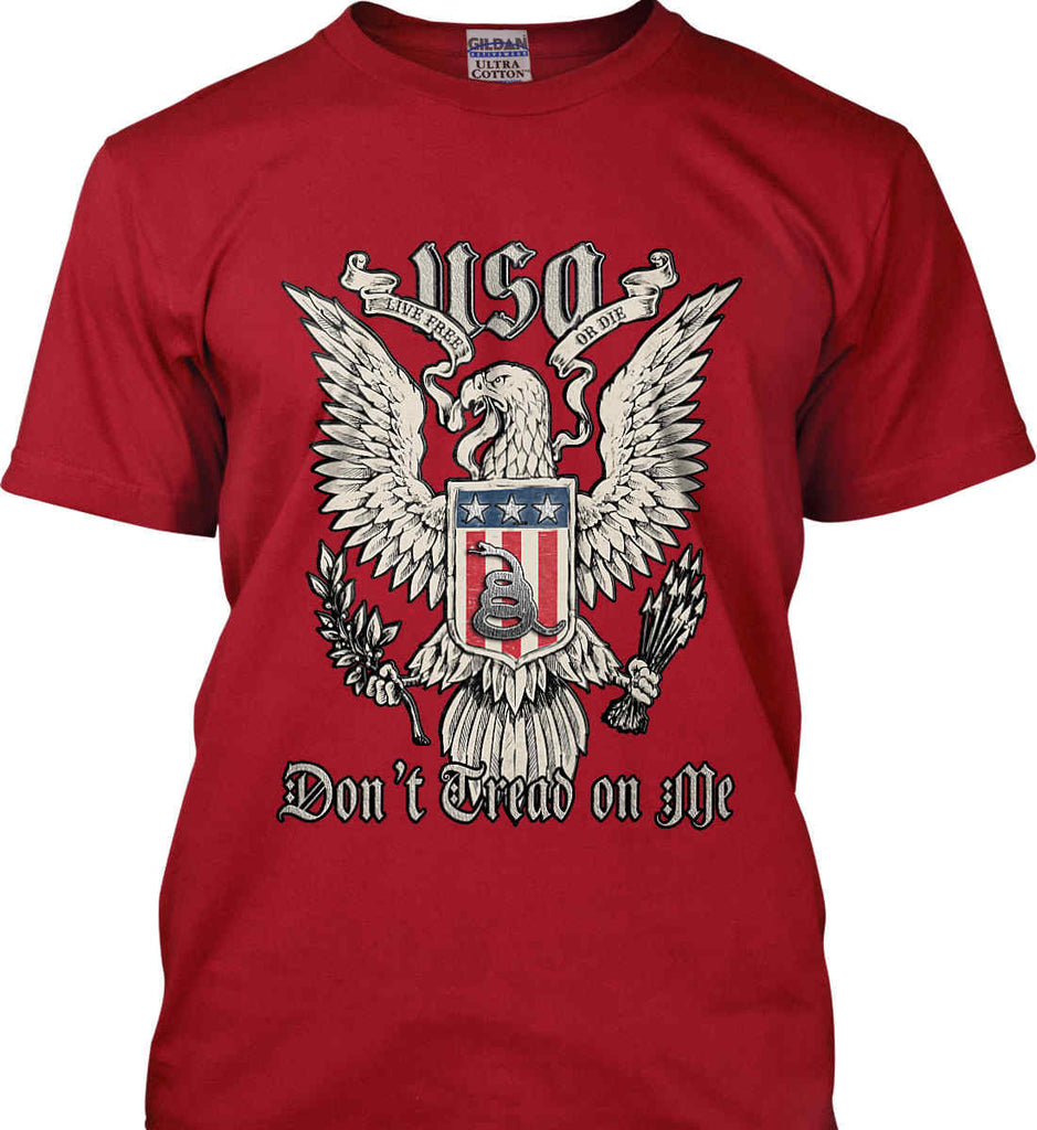 Don't Tread on Me. Eagle with Shield and Rattlesnake. Gildan Tall Ultra Cotton T-Shirt.-5
