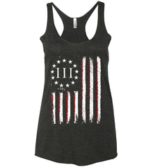 Three Percent on American Flag. Women's: Next Level Ladies Ideal Racerback Tank.