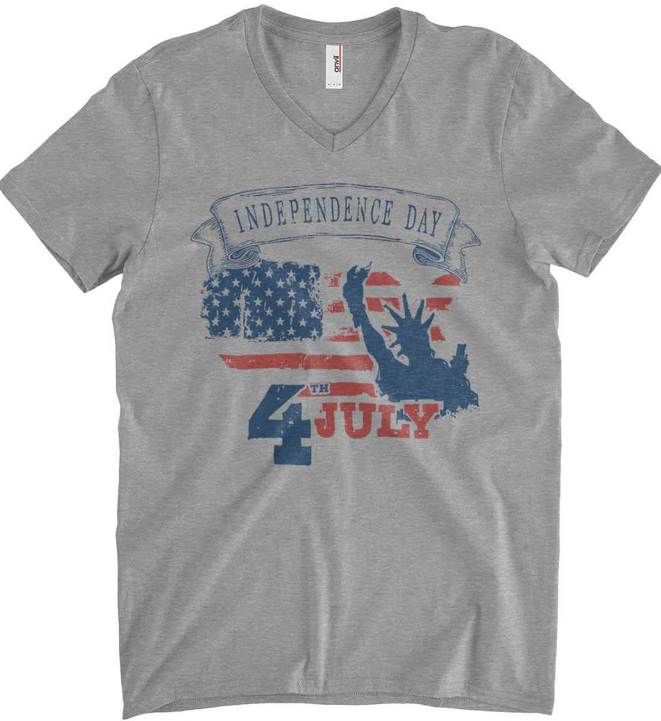4th of July. Faded Grunge. Statue of Liberty. Anvil Men's Printed V-Neck T-Shirt.-2