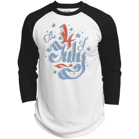 The 4th of July. Faded Ribbon Script. Sport-Tek Polyester Game Baseball Jersey.
