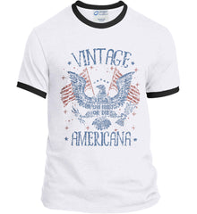 Vintage Americana Faded Grunge Port and Company Ringer Tee.