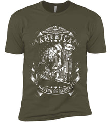 America A Nation of Heroes. Kneeling Soldier. White Print. Next Level Premium Short Sleeve T-Shirt.