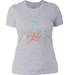 4th of July. Stars and Rockets. Women's: Next Level Ladies' Boyfriend (Girly) T-Shirt.