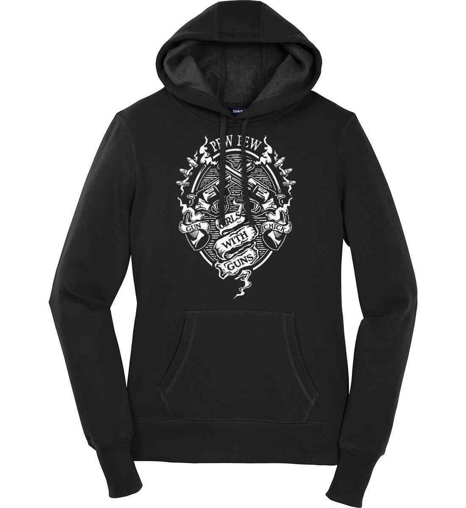 Pew Pew. Girls with Guns. Gun Chick. Women's: Sport-Tek Ladies Pullover Hooded Sweatshirt.-3