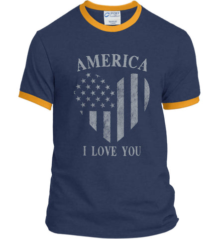 America I Love You Port and Company Ringer Tee.
