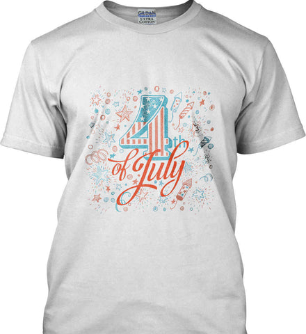 4th of July. Stars and Rockets. Gildan Ultra Cotton T-Shirt.