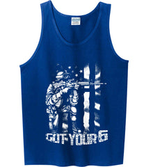 Got Your Six. Soldier Flag. White Print. Gildan 100% Cotton Tank Top.