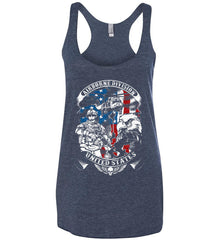 Airborne Division. United States. Women's: Next Level Ladies Ideal Racerback Tank.
