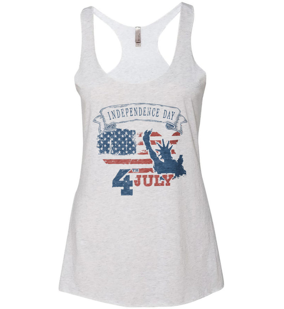 4th of July. Faded Grunge. Statue of Liberty. Women's: Next Level Ladies Ideal Racerback Tank.-2
